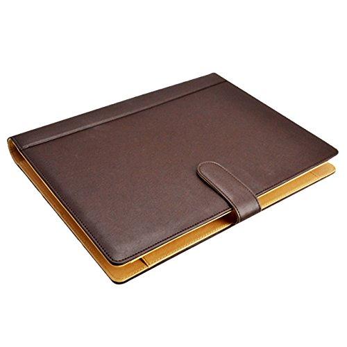 ECONUS 高級PUレザーバインダー A4 電卓付き 議事録 パッドクリップボード クリップファイル デスクパッド 署名フォルダ A4書類フォルダー オフィス用品 事務用品 携帯に便利(全2色) (茶色)