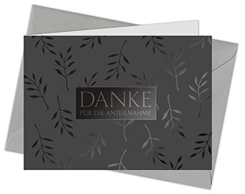 20 Karten & 20 Umschläge: Danksagung Trauerkarten Klappkarten DIN A6 im Set, Danke nach Trauerfall, Beerdigung, Sterbefall