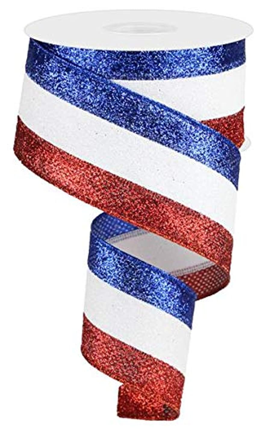 Glitter 3 in 1 Wired Edge Ribbon, 10 Yards (Red, White, Blue, 2.5
