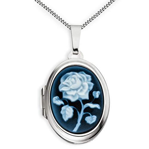 Medaillon Achatgemme Rose teilmattiert verziert oval 925 Sterling Silber zum öffnen für Bildereinlage 2 Fotos Amulett + Kette mit Schmuck-Etui von Haus der Herzen®