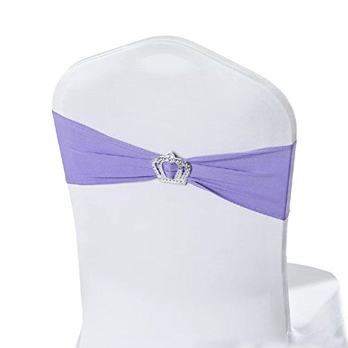 Miraise Spandex Lycra Stretch Chair Cover Band With Crown Buckle Sashes Ribbon Bow Party Banquet Wedding Decor (50, Lavender)