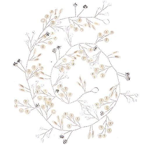Elegant Brautschmuck,MoreChioce Vintange Fraun Stirnbänder Perle Kristall Haare Zubehör Damen Strassbesatz Kopfschmuck Lang Strass Haarschmuck,50 CM,Silber,EINWEG