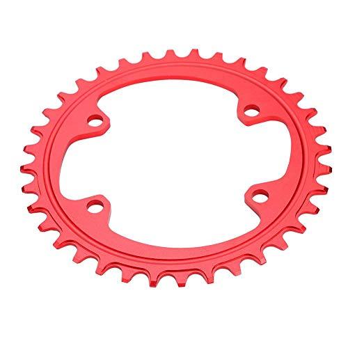 Keenso 1 Pieza Plato Aleación de Aluminio Dientes BCD 96 mm M6000 de 20 Velocidades(32T-Rojo)