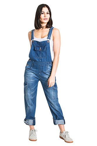 USKEES Damen-Latzhose - Faded Blue Verstellbare Beinlänge Mode Latzhose Denim Ov DAISY2FADED-8