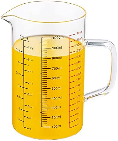 Top New Ackers BORO3.3 Glass Measuring Cup-[Insulated handle | V-Shaped Spout]-Made of High Borosilicate Glass Measuring Cup for Kitchen or Restaurant, Easy to Read, 1000 ML (34 Oz, 4 Cup)