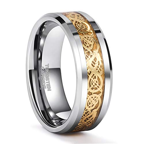 Frank S.Burton 8mm Silver Tungsten Ring with Gold Celtic Dragon Pattern Inlay Wedding Band for Men