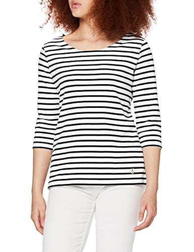 Armor Lux Marinière Guerande Héritage Femme Camiseta, Blanco/Rich Navy, M para Mujer