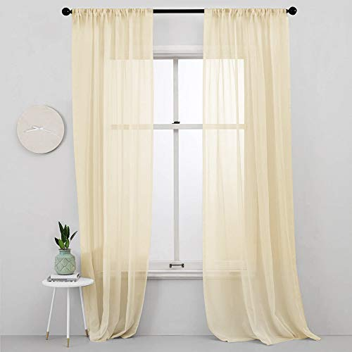 MRTREES Sheer Curtains Yellow Living Room 84 inch Length Bedroom Rod Pocket Transparent Voile Window Curtain Panels Sliding Glass Door Sheers Light Filtering Drapes 2 Panels Yolk Yellow