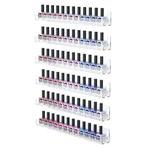FEMELI Nail Polish Wall Rack 6 Shelves,Clear Acrylic Nail Polish Holder Organizer for 66-90 Bottles