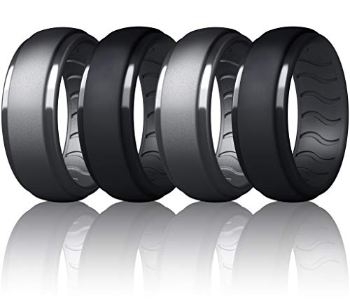Dookeh Breathable Mens Silicone Wedding Rings, Rubber Ring Bands For Men, Black Blue Camo Engagement Band, Best for Workout, 1-4-7 Pack (W4-Cast Iron,Black,Cast Iron,Black, 10)