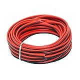 Fil électrique en silicone 16 AWG 10 mètres [Noir 5 m Rouge 5 m] Ligne de câble parallèle à 2 conducteurs souple et flexible Connexion 1,3 mm² Brins sans oxygène Fil de cuivre étamé