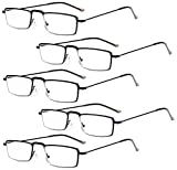 Eyekepper 5 Paia Occhiali da Lettura Presbiopia in Metallo Resistente Uomo Donna Occhiali da Vista Rettangolare Colore Nero Diottria +2.25