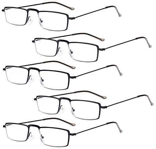Eyekepper Eyekepper 5-Pack rostfrei Staal Rahmen Halb-Augen Art Lesebrille Leser Schwarz+1.5