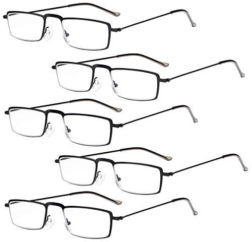 Eyekepper 5-Pack Straight Thin Stamped Metal Frame Half-Eye Style Reading Glasses Readers Black +1.5