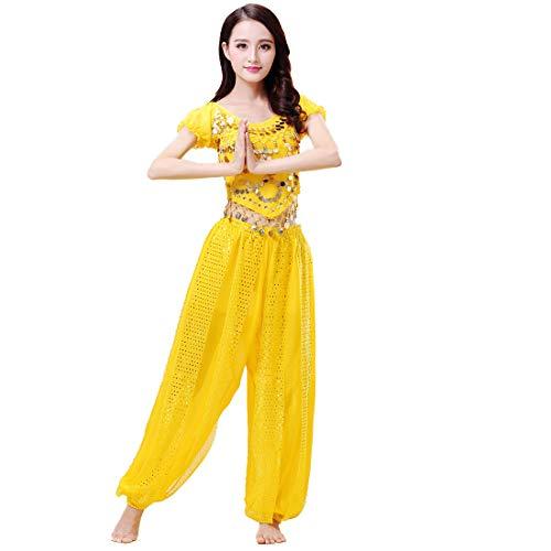 Aiweijia Donna Danza del Ventre Costumi Chiffon Indiano Arabo Abiti da Principessa 2 Pezzi Top con Maniche a Lanterna Pantaloni Harem
