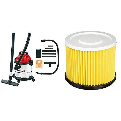 Einhell Aspirador en seco y húmedo TC-VC 1812 S + Einhell Duo - Inox - Filtro de larga duración para aspirador seco-húmedo