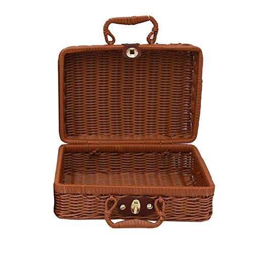 Demarkt Retro handgewebte rechteckige Wicker Handtasche, Simulation Rattan Woven Koffer Vintage Koffer Aufbewahrungsbox Picknick Aufbewahrungsbox Size 30 * 21 * 13CM