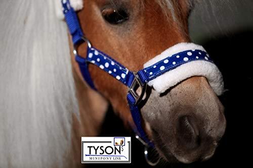 Tysons Breeches Polka Nylon Plüsch Halfter + Klett Minishetty Fohlen Mini Shetty Rot Blau Schwarz + Punkte Nylonhalfter (MMS, Blau)