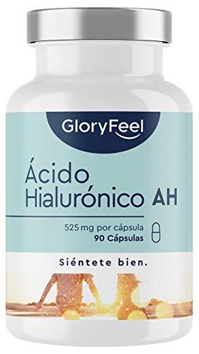 Ácido Hialurónico en cápsulas - 525mg de Acido hialuronico puro altamente concentrado - 90 Cápsulas veganas - 500-700 kDa - Probado en laboratorios - Sin aditivos y fabricado en Alemania