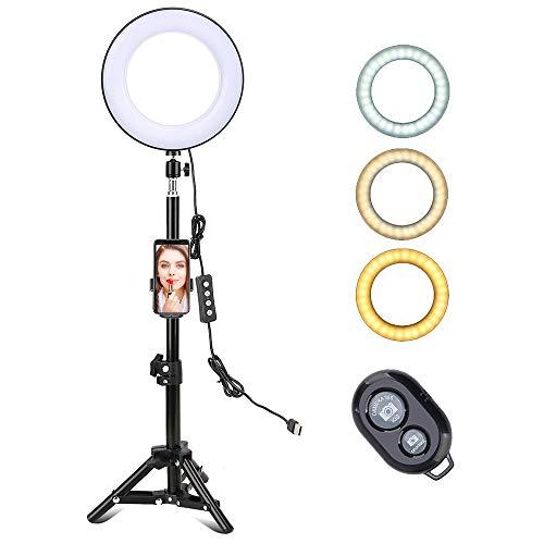 Docooler 8 Pulgadas Luz de Anillo LED de Escritorio 3 Modos de Iluminación USB Regulable Alimentado Trípode con Control Remoto para Youtube Live Video Selfie para Samsung Xiaomi Huwei