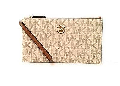 Michael Kors Fulton Leather Clutch Wristlet Wallet Vanilla Acorn PVC