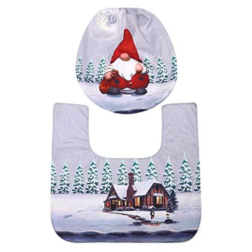Hohaski Christmas Santa Decoration Toilet Seat Cover and Carpet Cover Combination, Christmas Ornaments Advent Calendar Pillow Covers Garland Tree Skirt Gift Bags DIY