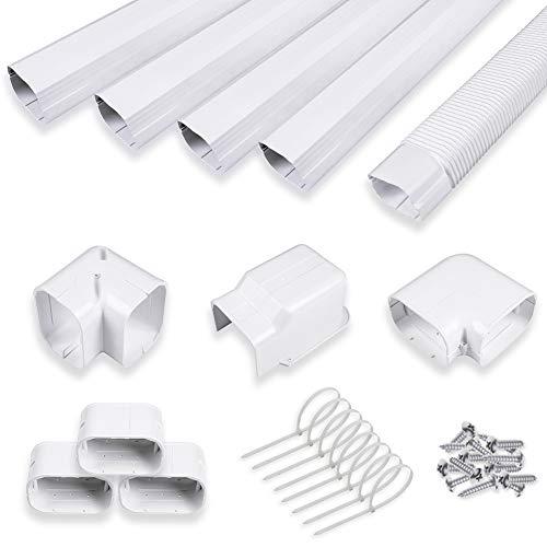 LYPREM Air Conditioner Decorative PVC Line Set Cover Kit for Mini Split and Central Air Conditioner and Heat Pump Line Set Decorative Tubing Cover Kit (5' Wx 14'ft)