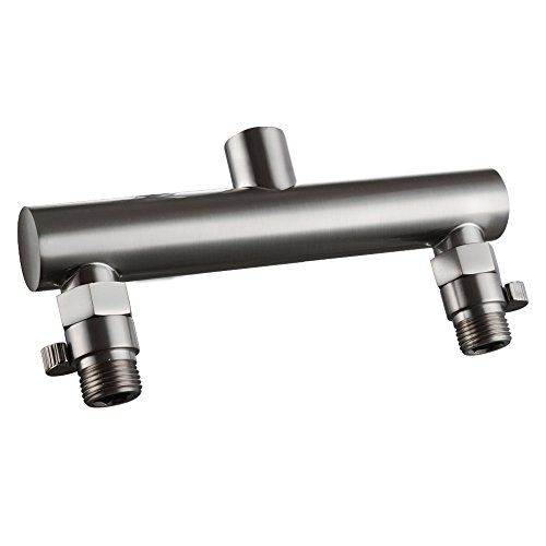 KES ALL BRASS Shower Head Double Outlet Manifold with Shut Off Valves for Dual Sprayer Showering System, Brushed Nickel, PJ15-2+K1140B-2