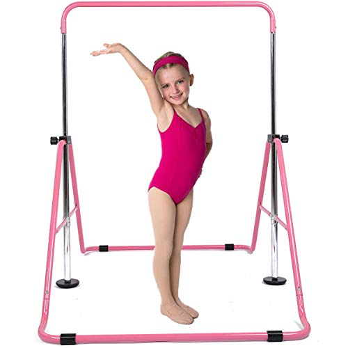 DOBESTS Gymnastics Bar for Kids Gymnastics Equipment for Home Folding Junior Training Monkey Bars Expandable Kip Bar for 3-7 Years Old Children