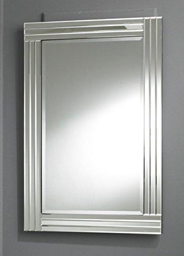 Moderno Rectangular Triple Biselado Cristal Pared Espejo Transparente Frontera 100X70