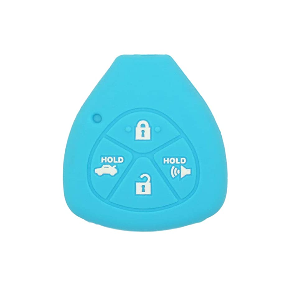 SEGADEN Silicone Cover Protector Case Skin Jacket fit for TOYOTA 4 Button Remote Key Fob CV2416 Light Blue