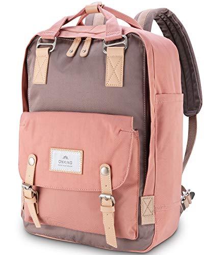 Rucksack für Mädchen Rosa und Grau, ONKING Premium Langlebiger Tagesrucksack mit Anti Diebstahl Tasche Reisen Rucksäck Wasserdicht Schulrucksack für 13''-16.5'' Laptops