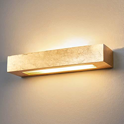 Lindby Gips Wandlampe in Gold|Up- and Downlight Effekt | Wandleuchte Gips 2 flammig für Wohnzimmer, Esszimmer, Küche, Flur | Gipsleuchte Wand innen |IP20