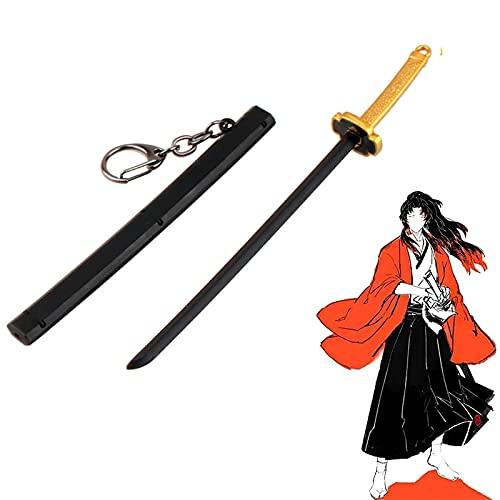 Demon Slayer Mini Toy Katana Llavero, Kamado Tanjirou Sunwheel Sword con Scabbard Sword Weapon Model Metal Llavero Colgante, para Amantes del Anime (Yoriichi)