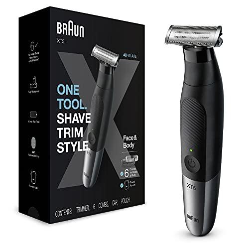 Braun Series XT5 Barttrimmer, Elektrorasierer für Herren, Bodygrooming-Set, 1 langlebige Klinge, mit Reisebeutel, ein Gerät für 3-Tage-Bart, Haare, Intimbereich, Achseln, XT5200