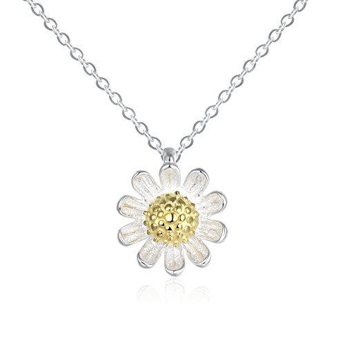NYKKOLA Damen-Halskette mit Gänseblümchen-Anhänger Sterling-Silber 925