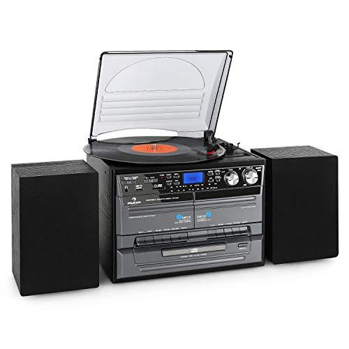 Auna TC-386 - Tocadiscos, Minicadena Hi-fi, Radiocasete, Altavoces estéreo, Reproductor de CD, Compatible MP3, Digitalizador USB, Ranura SD, Radio FM, Control Remoto, Negro