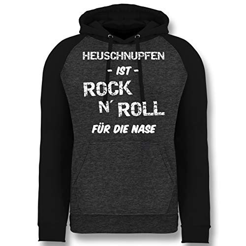 Sprüche - Heuschnupfen ist Rock n\' Roll für die Nase - L - Anthrazit meliert/Schwarz - JH009_Baseball_Hoodie_Unisex - JH009 - Baseball Hoodie
