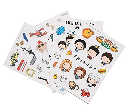 Grupo Erik - Kit adesivi stickers Friends Serie TV, 58 stickers, riutilizzabili e resistenti all'acqua, ideale come adesivi computer, smartphone, tablet, console