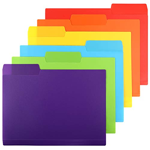 EOOUT 30pcs Plastic Colored File Folders, 3 Tab File Folders, Heavy Duty Letter Size, 6 Assorted Colors with Erasable Category Labels, for School and Office Supplies