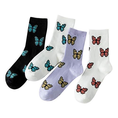 Litthing Neuheit Socken, Unisex Baumwollsocken,Socken mit Streifen, Socken mit Tier, Schmetterlings,Fruchtmuster, Fruchtsocken für Frauen Männer für Familie & Fre&e