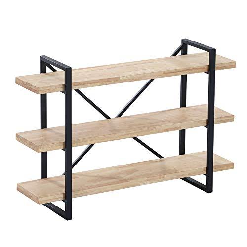 Plank, Estanteria Baja con 3 Estantes, Libreria Decorativa, Acabado en Roble Salvaje y Negro, Medidas: 120 cm (Ancho) x 80 cm (Alto) x 30 cm (Fondo)