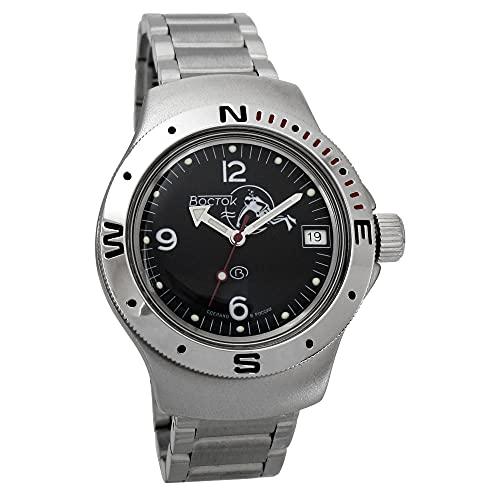 Vostok Amphibia 060634 - Reloj de buceo ruso para hombre (200 m, correa de acero inoxidable)
