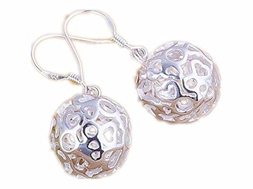 Ecloud Shop® Hohlwalze Kugel-Anhänger Ohrringe Fashion 925 Silber überzogen