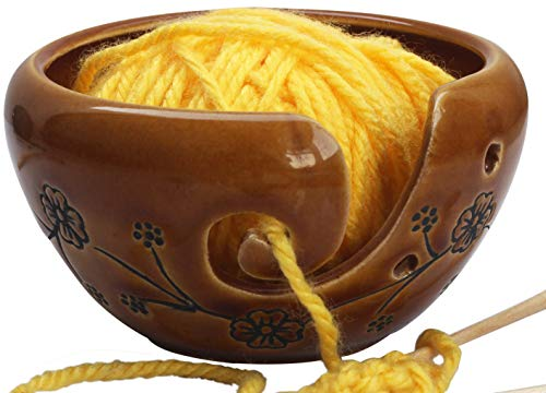 abhandicrafts Thanksgiving Day Ceramic Brown Yarn Bowl for Knitting, Crochet for Moms - Beautiful Gifts on All Occasions for Moms and Grandmothers 6X4 Inches