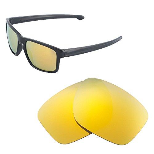 Walleva Ersatzgläser für Oakley Sliver, 24 Karat Gold spiegelbeschichtet, polarisiert