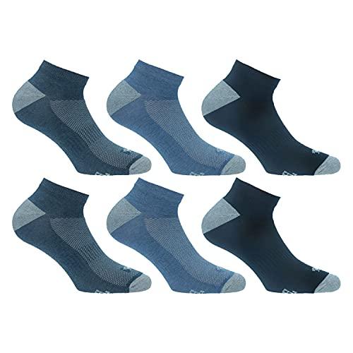 Lonsdale Sneaker Tech 6 Paar ideale Socken für Trekking, Rennen, Tennis, Radfahren, ausgezeichnete Baumwollqualität (Blau, Jeans, Denim, 43-46)
