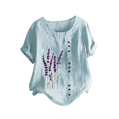 Tuniken Leinen Mädchen Top Mode Blusen Casual Rundhals Shirt Oversize T-Shirt Herbst Kleidung Damen Leinen T Shirt Blau #68 M