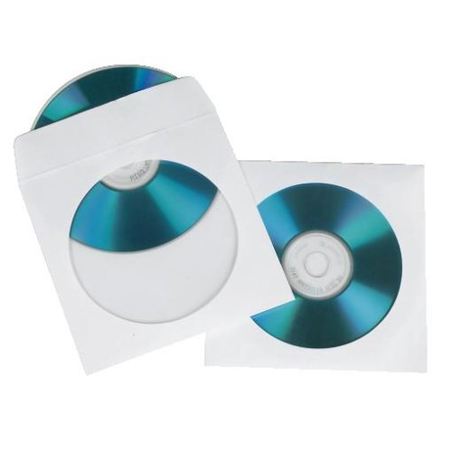 Hama CD-/DVD-/Blu-ray Papierhüllen, 100er-Pack (mit transparentem Sichtfenster, verschließbar) weiß