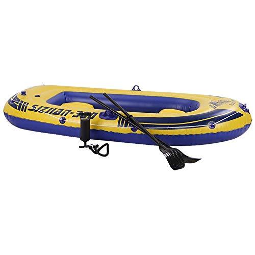 AJH Kayak Inflable Conjunto, Ocio 3-Persona de 8 pies de Bote Inflable del Barco fijada con remos y Aluminio de Alto Rendimiento Bomba de Aire de Pesca Deportiva en Aguas bravas